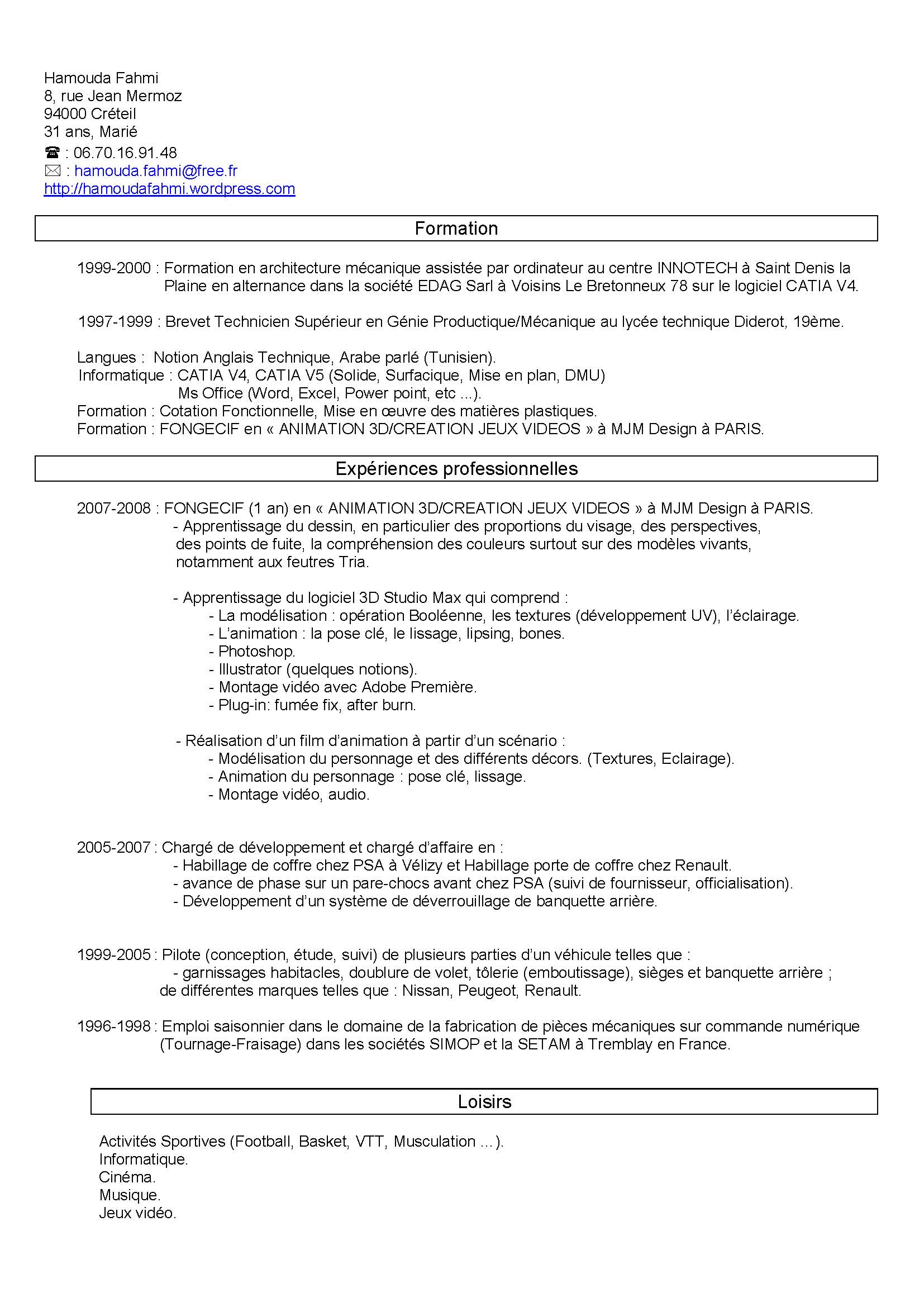 resume format  curriculum vitae et lettre motivation